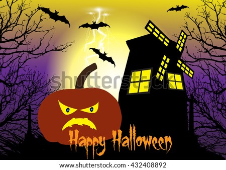 Spooky Halloween background with pumpkins,windmill,bats and cross among the dead trees. - stock vector