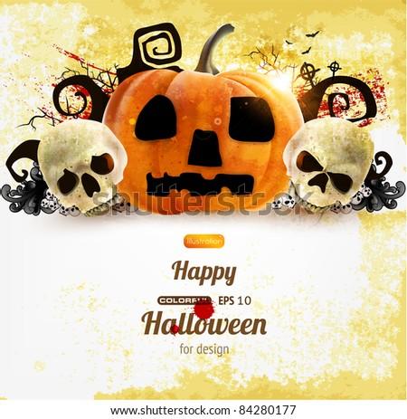 Spooky Halloween composition - stock vector