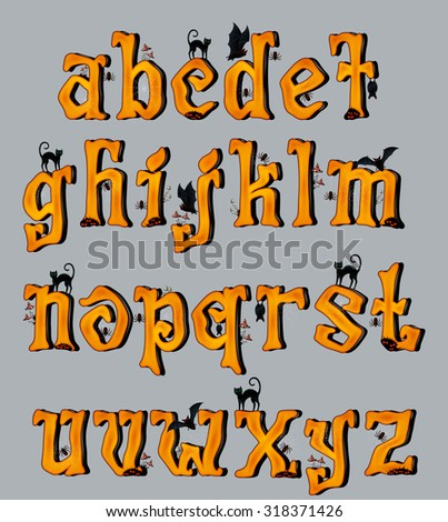 Spooky Halloween Font Uppercase Letters, for Halloween greeting Cards, EPS 10 contains transparency. - stock vector