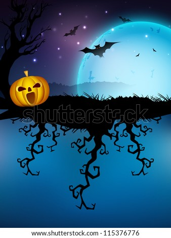Spooky Halloween full moon light night background with dead tree branches, pumpkins and flying bats. EPS 10.