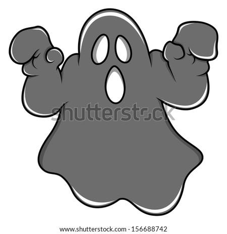 spooky Halloween ghost cartoon vector - stock vector