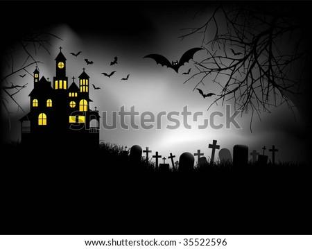 Spooky Halloween house - stock vector