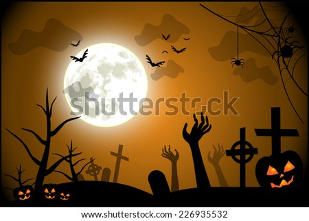 Spooky Halloween illustration vector - stock vector
