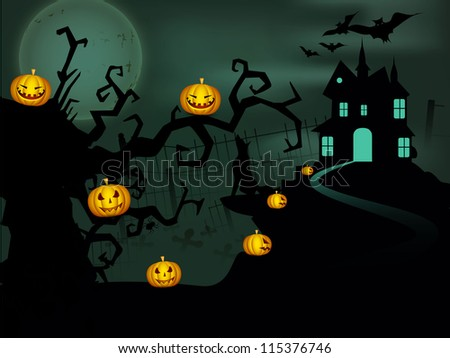Spooky Halloween night background with haunted house and scary pumpkins on dead tree branches. EPS 10. - stock vector