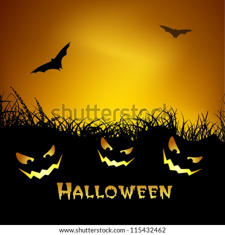 Spooky Halloween night background with pumpkins and flying bats. EPS 10. - stock vector