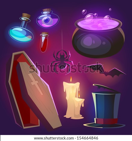 Spooky Halloween objects. Vector illustration. - stock vector