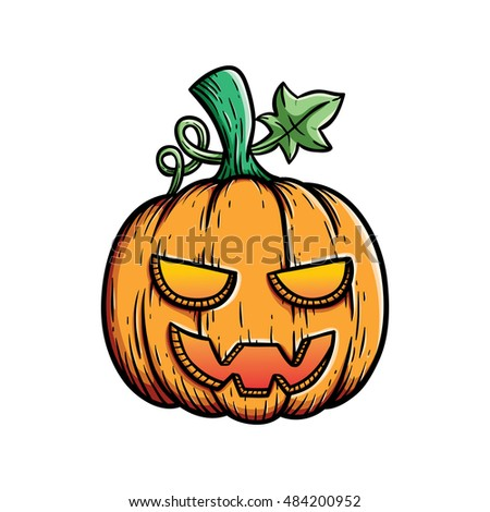 spooky halloween pumpkin with cute colored and outline