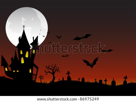 spooky-halloween-scene - stock vector