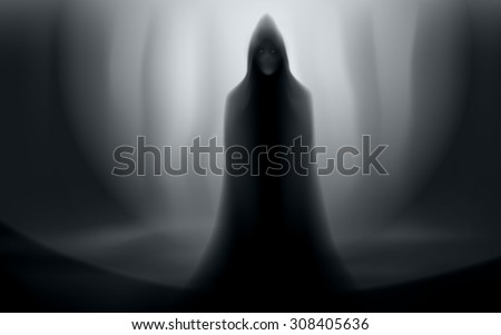 spooky man in cloak halloween forest scene editable vector - stock vector