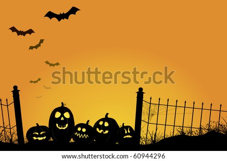 Spooky sunset with Jack O'Lanterns, bats, and fence with cobwebs. Highly detailed shading on pumpkins, intricate cobweb on fence, grasses and detailed background.