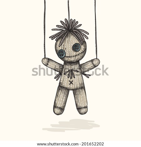 Spooky Voodoo Doll In A Sketch Style, Eps 10 Vector Illustration - stock vector