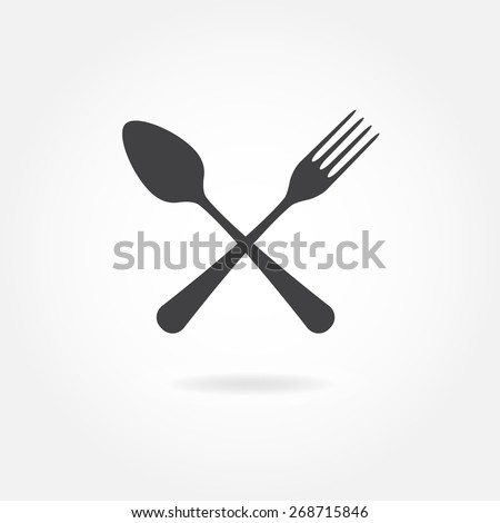 Spoon and fork icon. Vector illustration in flat style. - stock vector