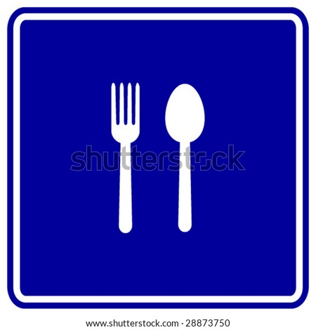 spoon and fork sign - stock vector