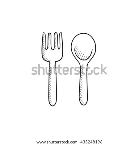 Spoon and fork vector sketch icon isolated on background. Hand drawn Spoon and fork icon. Spoon and fork sketch icon for infographic, website or app. - stock vector