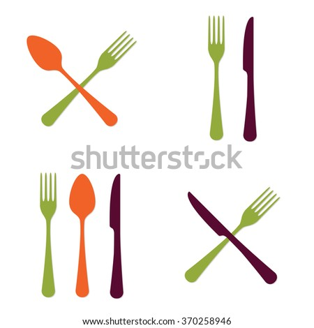 Spoon, fork and knife icon set. Vector illustration in flat style. - stock vector