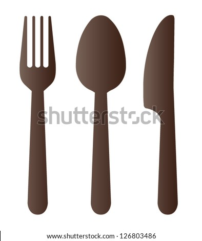 Spoon fork and knife on white background. Vector illustration - stock vector