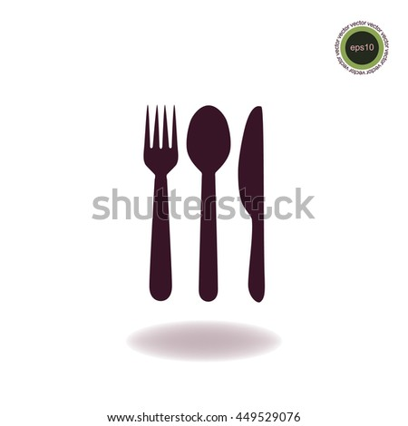 Spoon, fork and knife, vector icon