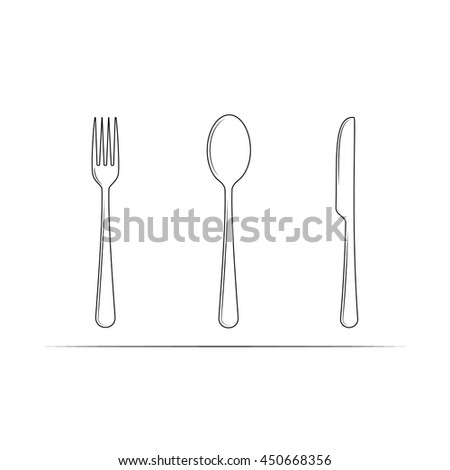 Spoon, knife and fork vector icon