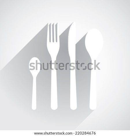 Spoon, knife, fork and teaspoon in flat design