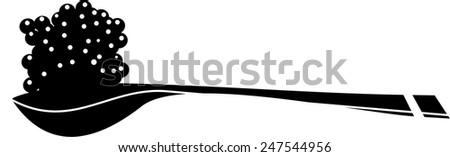 Spoon with black caviar - stock vector