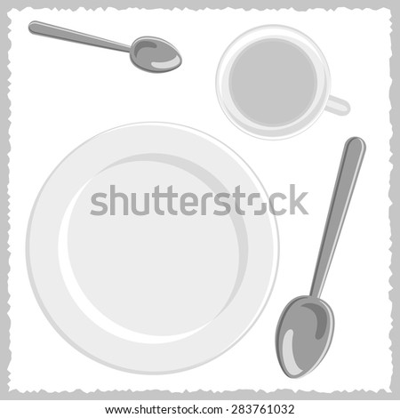 spoons, white plate and cup - stock vector