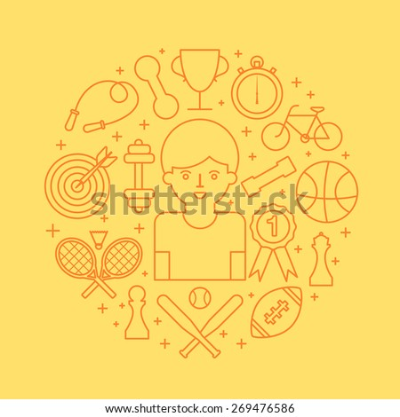 Sport abstract line style vector illustration - stock vector