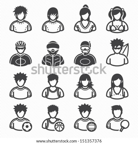 Sport and Activity People Icons with White Background - stock vector
