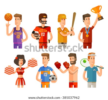 sport and athletes icons set. vector illustration - stock vector