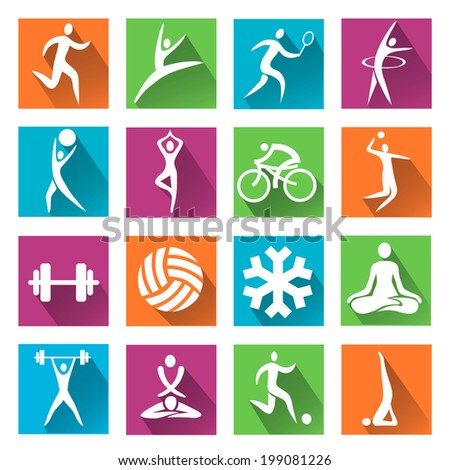 Sport and fitness colorful icons. Set of colorful modern icons with long shadow with  sport, fitness and yoga activities. Vector illustration.  - stock vector