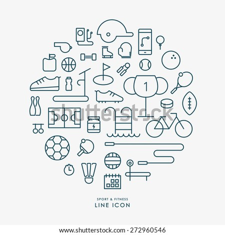 sport and fitness line icons infographic vector - stock vector