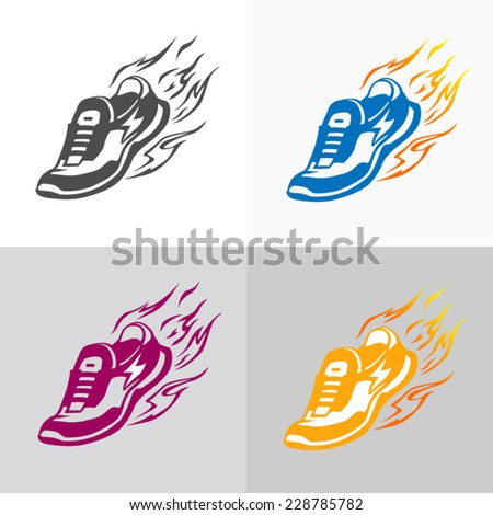 Sport and fitness logo. Running shoe icons. - stock vector