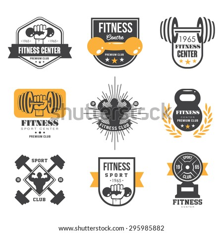 Sport and Fitness Logo Templates, Gym Logotypes, Athletic Labels and Badges - stock vector