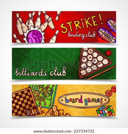 Sport and gambling games sketch colored horizontal banner set with bowling billiards and board isolated vector illustration - stock vector