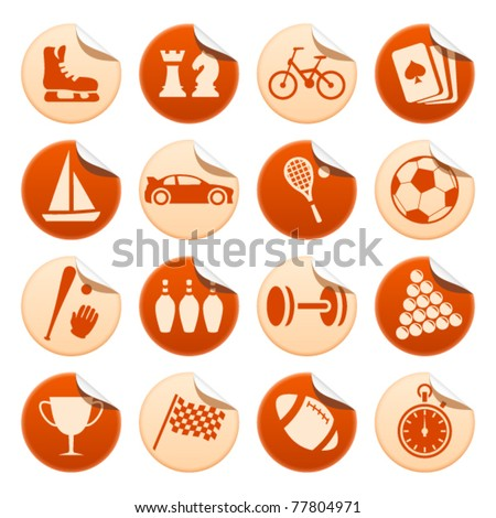 Sport and hobby stickers - stock vector