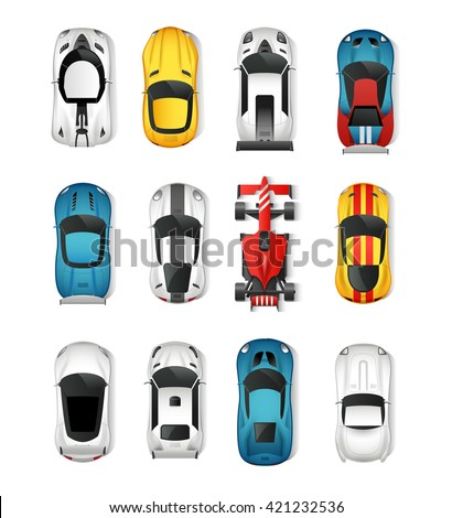 Sport Cars Top View Icons Set. Racing Cars Isolated Vector Illustration. Rally Cars Design Set. Sport Cars Cartoon Decorative Set. - stock vector