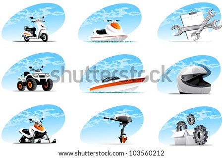 Sport and travel vehicle icons (set #4) - stock vector