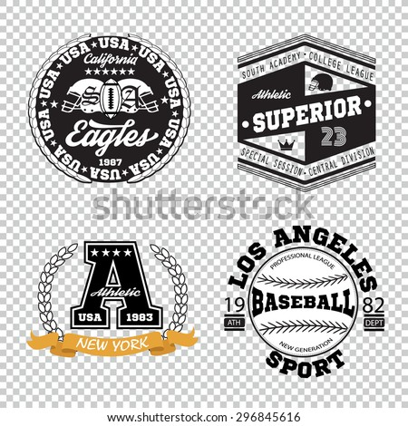 Sport athletic champions college baseball football logo emblem collection. Vector Graphics and typography t-shirt design for apparel. - stock vector