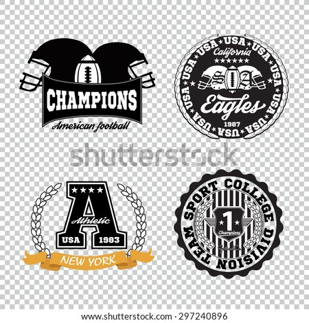 Sport athletic champions college baseball football logo emblem collection. Vector Graphics and typography t-shirt design for apparel. Isolated very easy to use. - stock vector