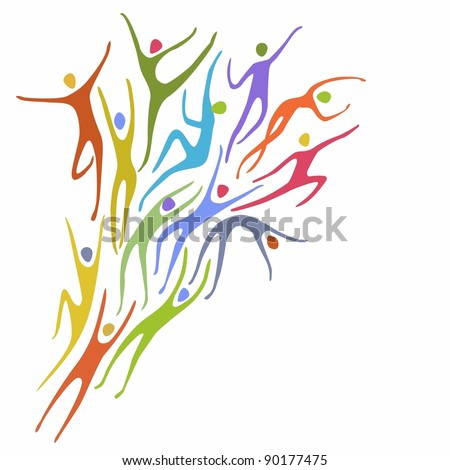 Sport background in vector. Abstract illustration with colorful figures of peoples in motion. Space for text - stock vector