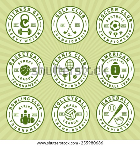 Sport badges and labels in vintage style - stock vector
