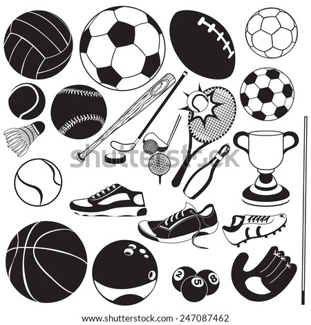 sport ball black vector icons - stock vector