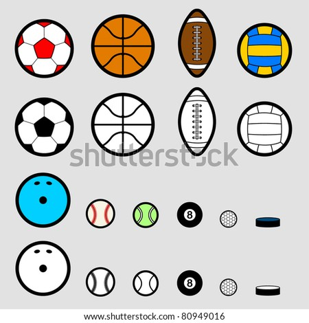 Sport ball pictogram, simple style - stock vector