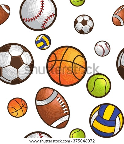 Sport ball seamless pattern vector