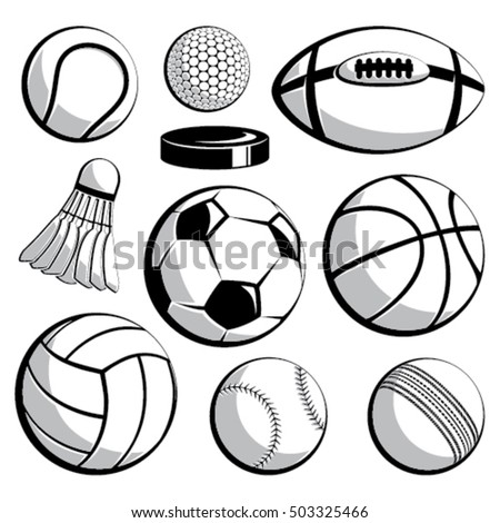 Sport ball vector set on isolated background