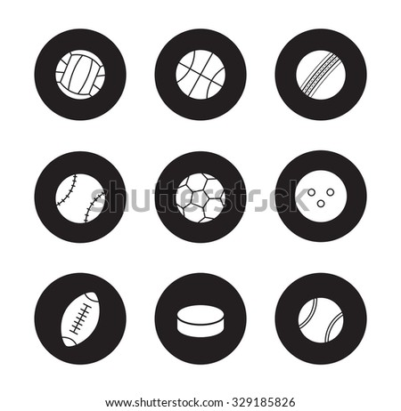 Sport balls black icons set. Hockey puck and bowling ball. Active lifestyle team play games. Sport equipment white silhouettes illustrations isolated on black circles . Vector infographics elements - stock vector