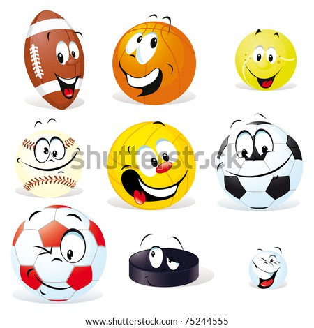 sport balls cartoon - stock vector