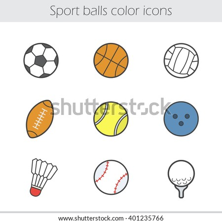 Sport balls color icons set. Team games equipment. Baseball, basketball, soccer, volleyball, tennis, bowling, badminton, rugby, golf balls. Vector isolated illustrations