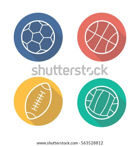Sport balls flat linear long shadow icons set. Volleyball, basketball, soccer and rugby balls. Vector line illustration