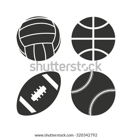 Sport balls icons. Volleyball, Basketball, Baseball and American football signs. Team sport games. Flat icons on white. Vector