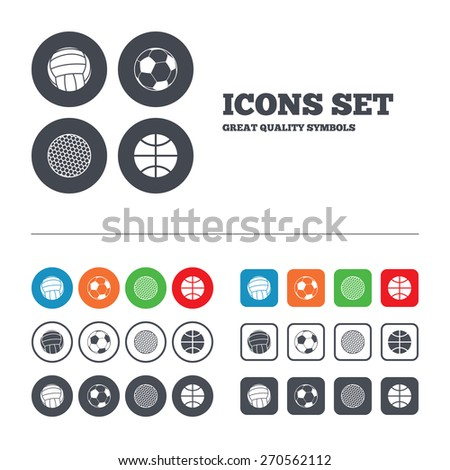 Sport balls icons. Volleyball, Basketball, Soccer and Golf signs. Team sport games. Web buttons set. Circles and squares templates. Vector - stock vector
